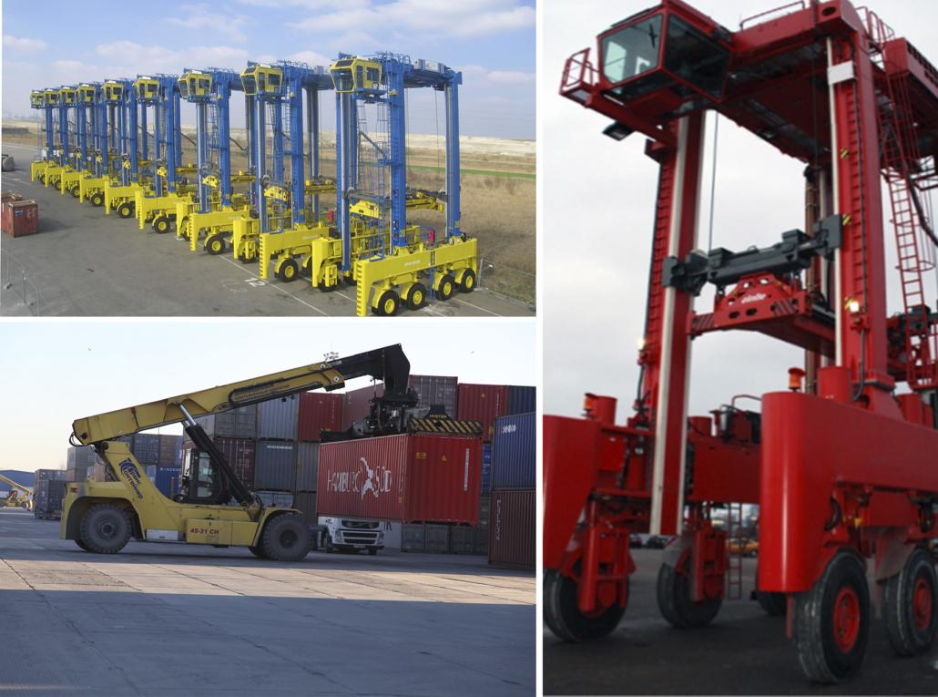 коллаж из фотографий оборудования контейнерных терминалов
