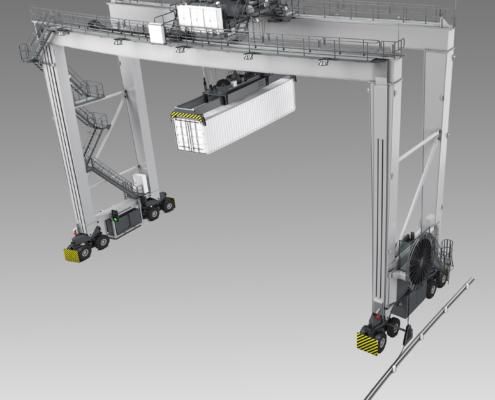 оборудование контейнерных терминалов на фоне градиента